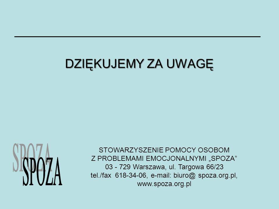 DZIĘKUJEMY ZA UWAGĘ STOWARZYSZENIE POMOCY OSOBOM Z PROBLEMAMI EMOCJONALNYMI SPOZA 03 - 729 Warszawa, ul. Targowa 66/23 tel./fax 618-34-06, e-mail: biu