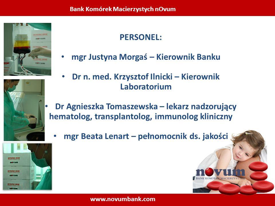 Bank Komórek Macierzystych nOvum www.novumbank.com PERSONEL: mgr Justyna Morgaś – Kierownik Banku Dr n. med. Krzysztof Ilnicki – Kierownik Laboratoriu