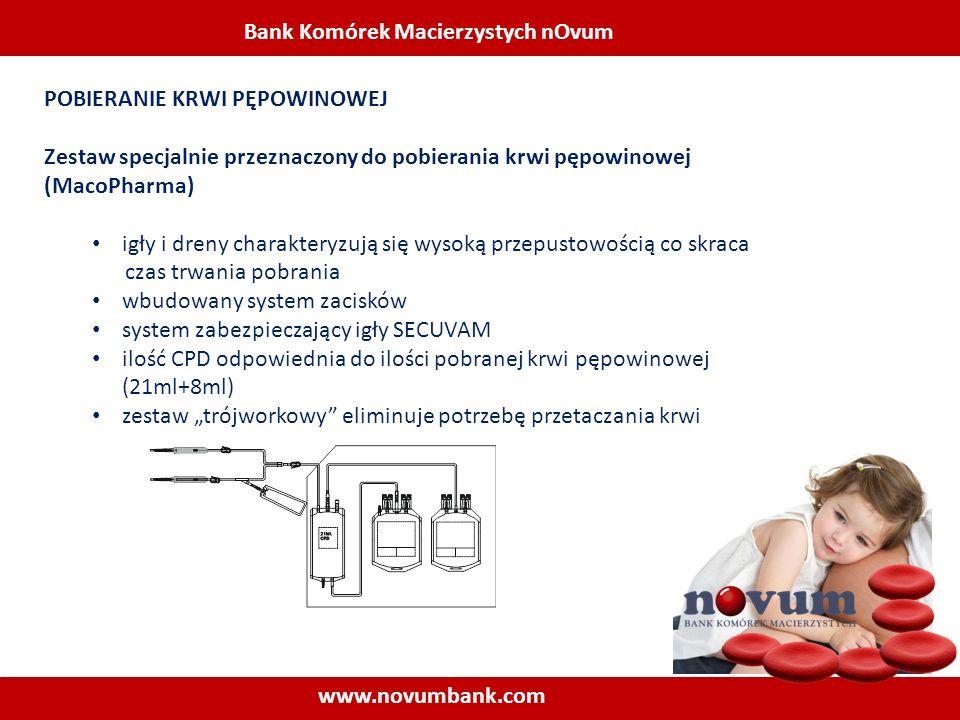 Bank Komórek Macierzystych nOvum www.novumbank.com POBIERANIE KRWI PĘPOWINOWEJ Zestaw specjalnie przeznaczony do pobierania krwi pępowinowej (MacoPhar