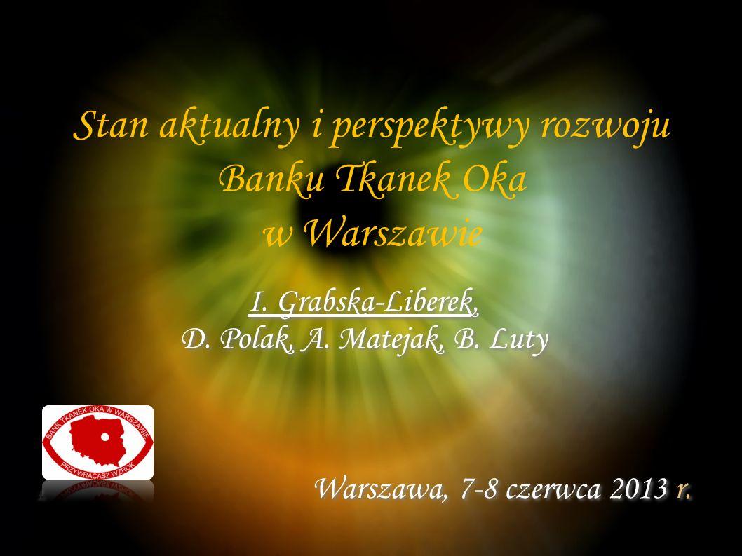 Stan aktualny i perspektywy rozwoju Banku Tkanek Oka w Warszawie I.