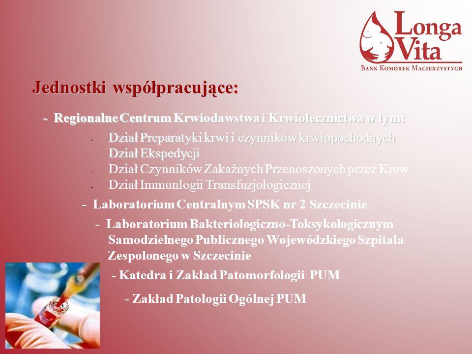 Jednostki współpracujące: - Regionalne Centrum Krwiodawstwa i Krwiolecznictwa w tym: - Dział Preparatyki krwi i czynników krwiopochodnych - Dział Eksp