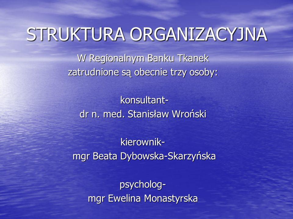 STRUKTURA ORGANIZACYJNA W Regionalnym Banku Tkanek zatrudnione są obecnie trzy osoby: konsultant- konsultant- dr n.
