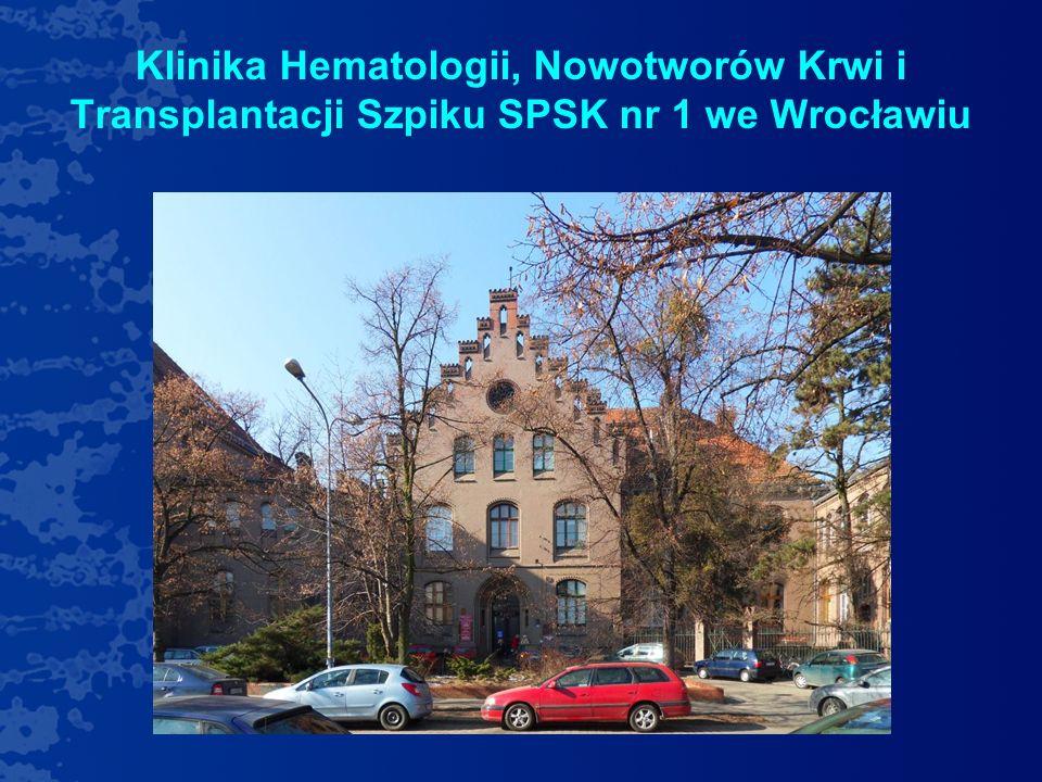 Bank Komórek Krwiotwórczych Kliniki Hematologii, Nowotworów Krwi i Transplantacji Szpiku SPSK1 we Wrocławiu 2000r- utworzenie Ośrodka Przeszczepowego wraz z Pracownią Inżynierii Przeszczepu – procedury przeczepów autologicznych 2003r- wprowadzenie procedur przeszczepów allogenicznych 2011r- utworzenie Banku Komórek Krwiotwórczych Obecnie w Klinice jest 56 łóżek, w tym - 14 łóżek na Oddziale Przeszczepowym.