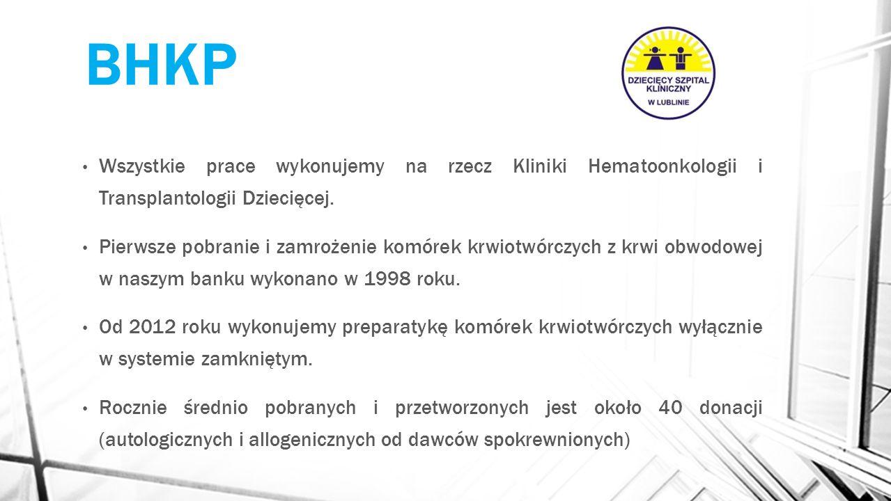BHKP Wszystkie prace wykonujemy na rzecz Kliniki Hematoonkologii i Transplantologii Dziecięcej. Pierwsze pobranie i zamrożenie komórek krwiotwórczych