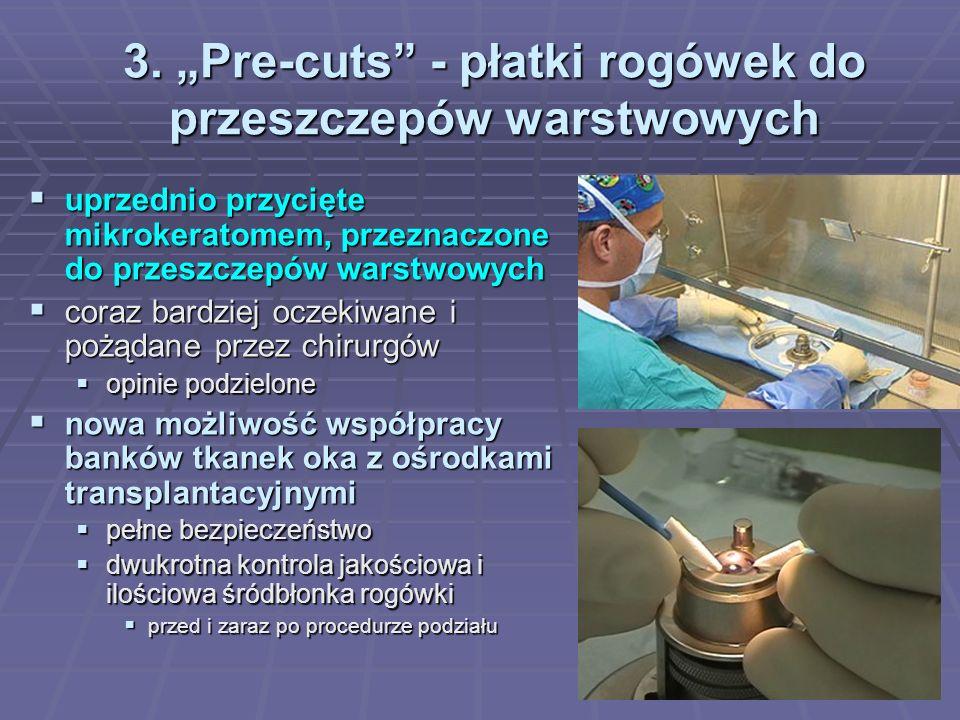 3. Pre-cuts - płatki rogówek do przeszczepów warstwowych uprzednio przycięte mikrokeratomem, przeznaczone do przeszczepów warstwowych uprzednio przyci