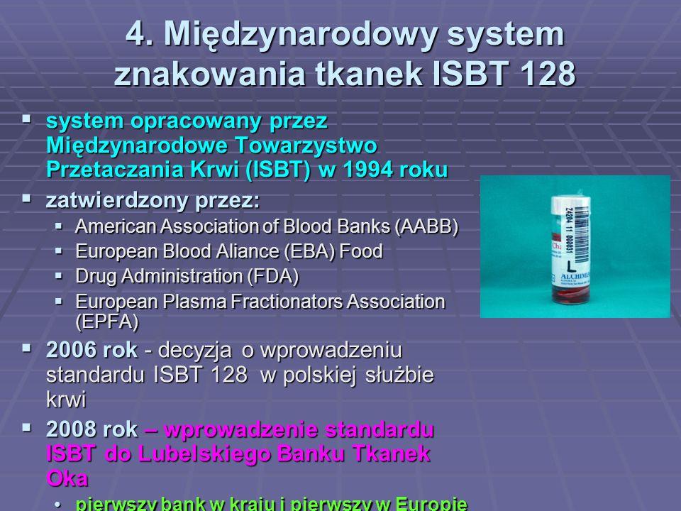 4. Międzynarodowy system znakowania tkanek ISBT 128 system opracowany przez Międzynarodowe Towarzystwo Przetaczania Krwi (ISBT) w 1994 roku system opr