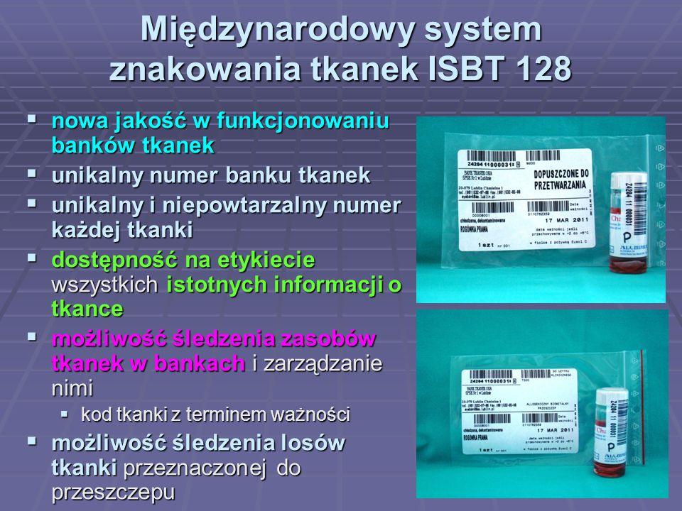 Międzynarodowy system znakowania tkanek ISBT 128 nowa jakość w funkcjonowaniu banków tkanek nowa jakość w funkcjonowaniu banków tkanek unikalny numer banku tkanek unikalny numer banku tkanek unikalny i niepowtarzalny numer każdej tkanki unikalny i niepowtarzalny numer każdej tkanki dostępność na etykiecie wszystkich istotnych informacji o tkance dostępność na etykiecie wszystkich istotnych informacji o tkance możliwość śledzenia zasobów tkanek w bankach i zarządzanie nimi możliwość śledzenia zasobów tkanek w bankach i zarządzanie nimi kod tkanki z terminem ważności kod tkanki z terminem ważności możliwość śledzenia losów tkanki przeznaczonej do przeszczepu możliwość śledzenia losów tkanki przeznaczonej do przeszczepu umożliwienie automatycznego przetwarzania danych umożliwienie automatycznego przetwarzania danych