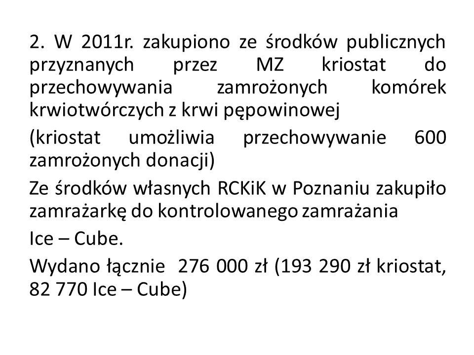2. W 2011r. zakupiono ze środków publicznych przyznanych przez MZ kriostat do przechowywania zamrożonych komórek krwiotwórczych z krwi pępowinowej (kr