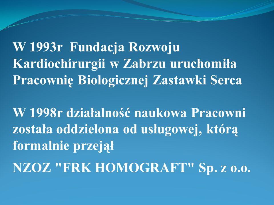 W 1993r Fundacja Rozwoju Kardiochirurgii w Zabrzu uruchomiła Pracownię Biologicznej Zastawki Serca W 1998r działalność naukowa Pracowni została oddzie