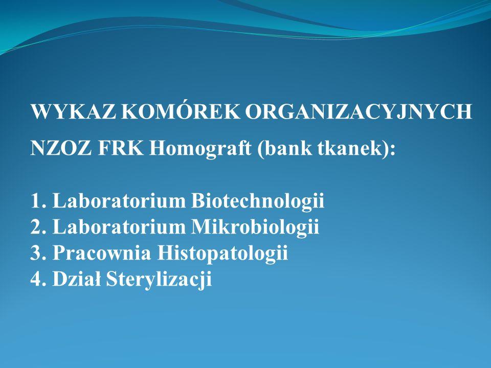 WYKAZ KOMÓREK ORGANIZACYJNYCH NZOZ FRK Homograft (bank tkanek): 1. Laboratorium Biotechnologii 2. Laboratorium Mikrobiologii 3. Pracownia Histopatolog