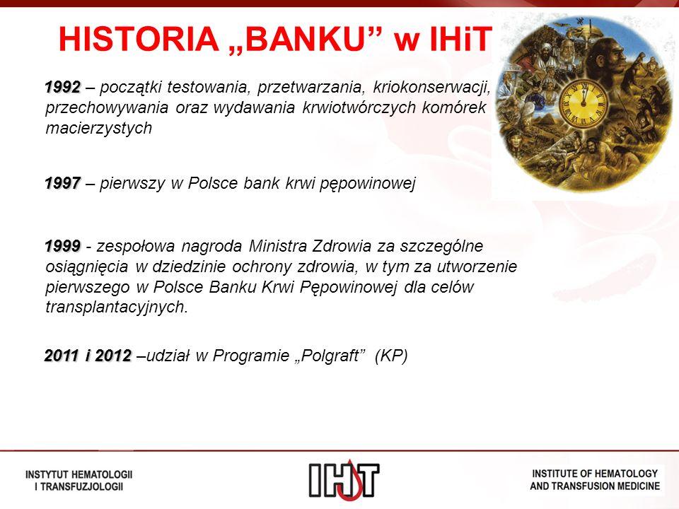 HISTORIA BANKU w IHiT 1992 1992 – początki testowania, przetwarzania, kriokonserwacji, przechowywania oraz wydawania krwiotwórczych komórek macierzyst