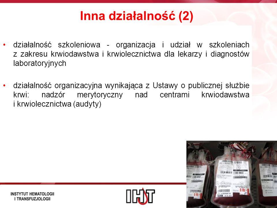 Inna działalność (2) działalność szkoleniowa - organizacja i udział w szkoleniach z zakresu krwiodawstwa i krwiolecznictwa dla lekarzy i diagnostów la