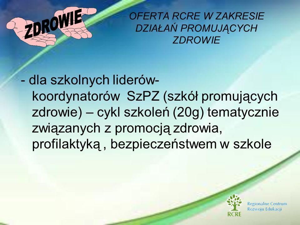 - dla szkolnych liderów- koordynatorów SzPZ (szkół promujących zdrowie) – cykl szkoleń (20g) tematycznie związanych z promocją zdrowia, profilaktyką,