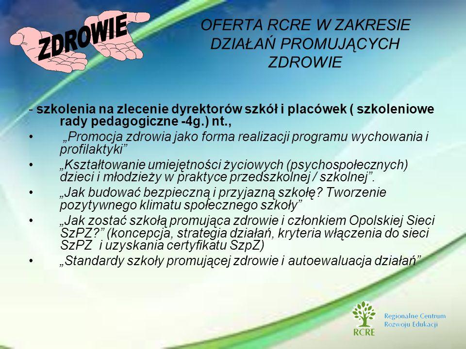 - szkolenia na zlecenie dyrektorów szkół i placówek ( szkoleniowe rady pedagogiczne -4g.) nt., Promocja zdrowia jako forma realizacji programu wychowa