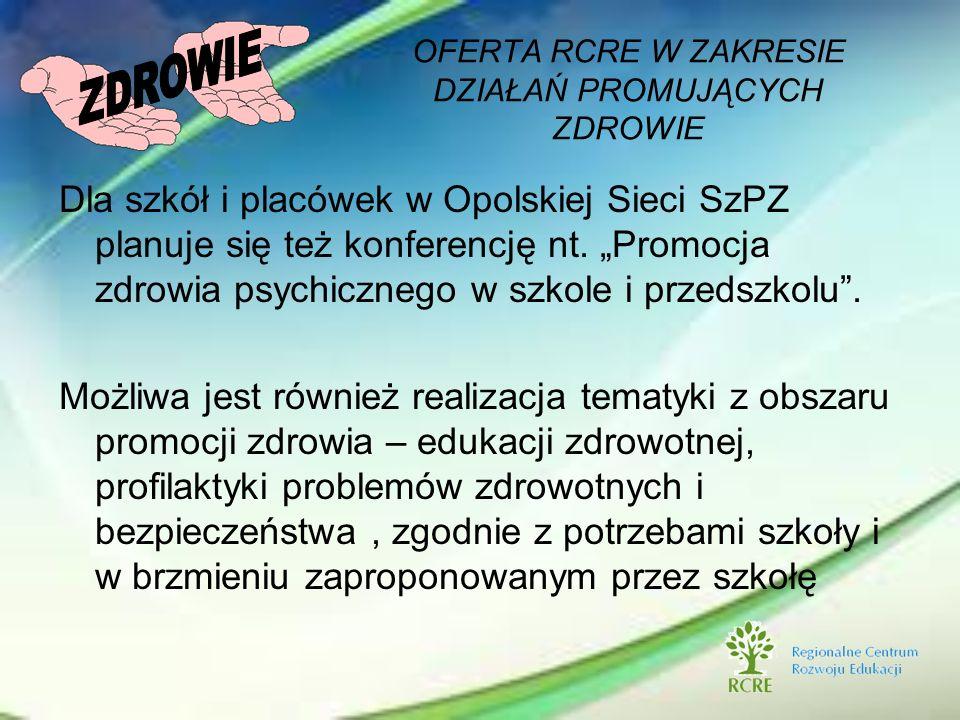 Dla szkół i placówek w Opolskiej Sieci SzPZ planuje się też konferencję nt. Promocja zdrowia psychicznego w szkole i przedszkolu. Możliwa jest również