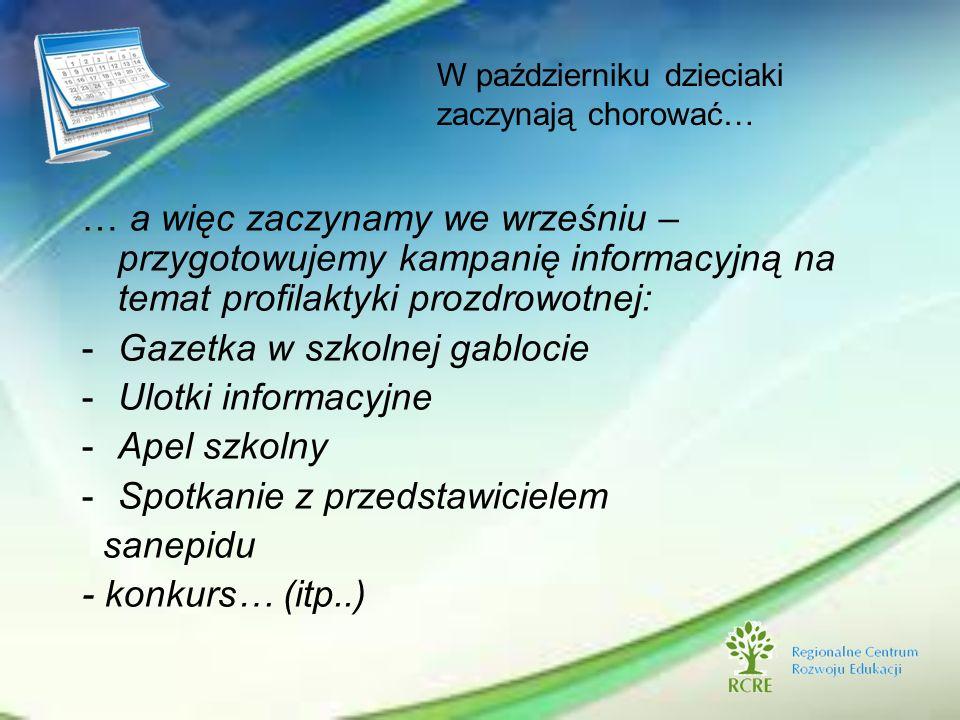 … a więc zaczynamy we wrześniu – przygotowujemy kampanię informacyjną na temat profilaktyki prozdrowotnej: -Gazetka w szkolnej gablocie -Ulotki inform
