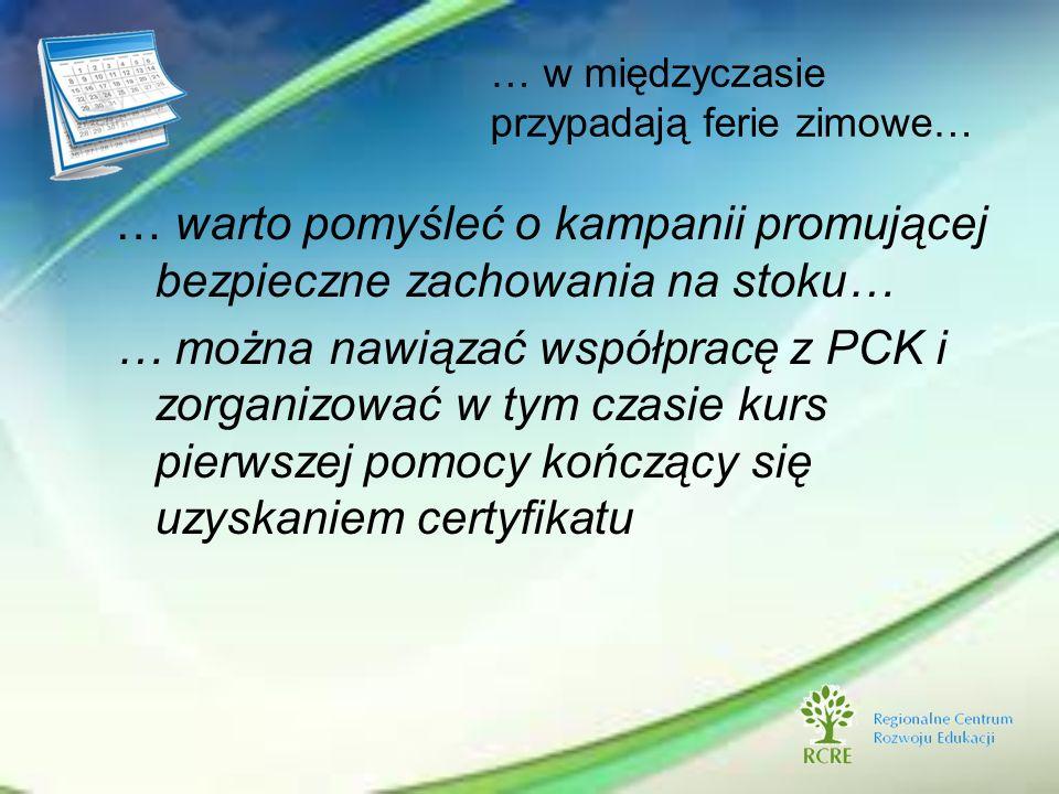 … w międzyczasie przypadają ferie zimowe… … warto pomyśleć o kampanii promującej bezpieczne zachowania na stoku… … można nawiązać współpracę z PCK i z