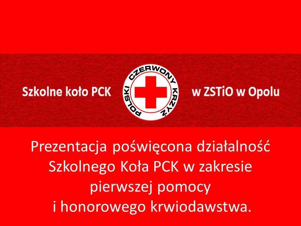 Prezentacja poświęcona działalność Szkolnego Koła PCK w zakresie pierwszej pomocy i honorowego krwiodawstwa.