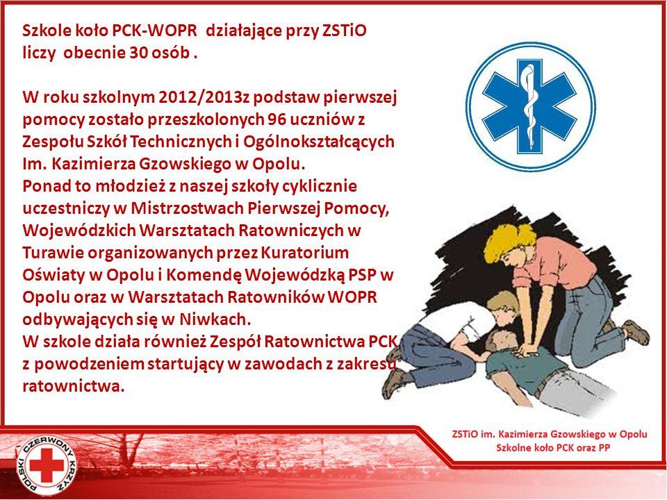 Szkole koło PCK-WOPR działające przy ZSTiO liczy obecnie 30 osób.