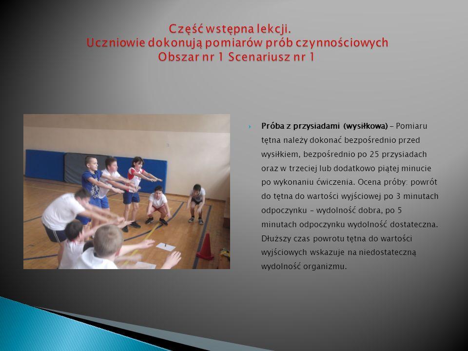 Próba z przysiadami (wysiłkowa) – Pomiaru tętna należy dokonać bezpośrednio przed wysiłkiem, bezpośrednio po 25 przysiadach oraz w trzeciej lub dodatk
