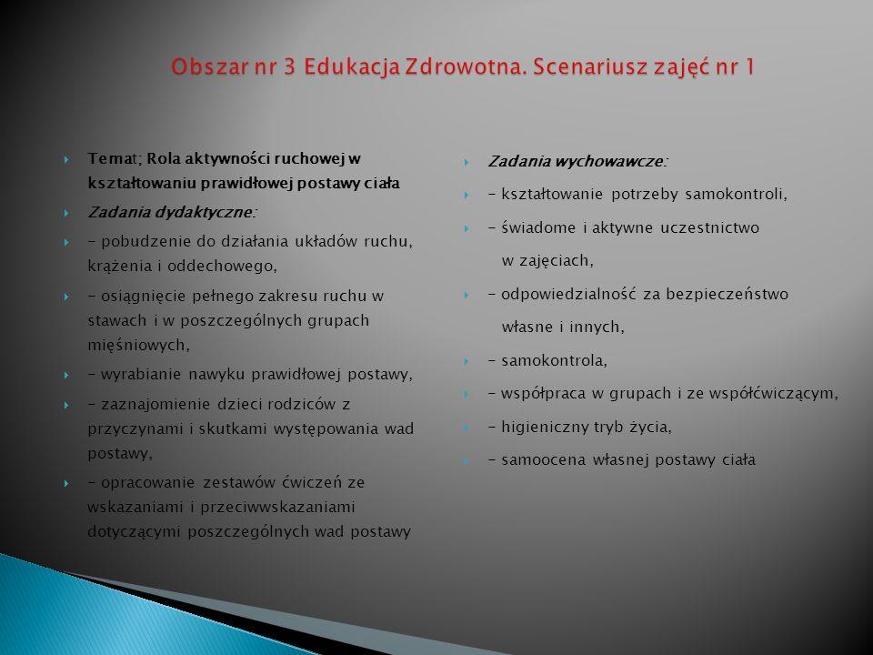 Temat; Rola aktywności ruchowej w kształtowaniu prawidłowej postawy ciała Zadania dydaktyczne: - pobudzenie do działania układów ruchu, krążenia i odd