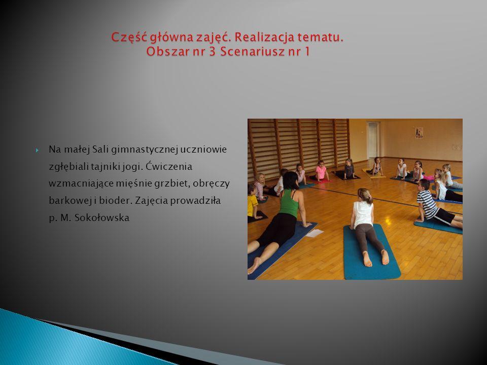 Na małej Sali gimnastycznej uczniowie zgłębiali tajniki jogi. Ćwiczenia wzmacniające mięśnie grzbiet, obręczy barkowej i bioder. Zajęcia prowadziła p.