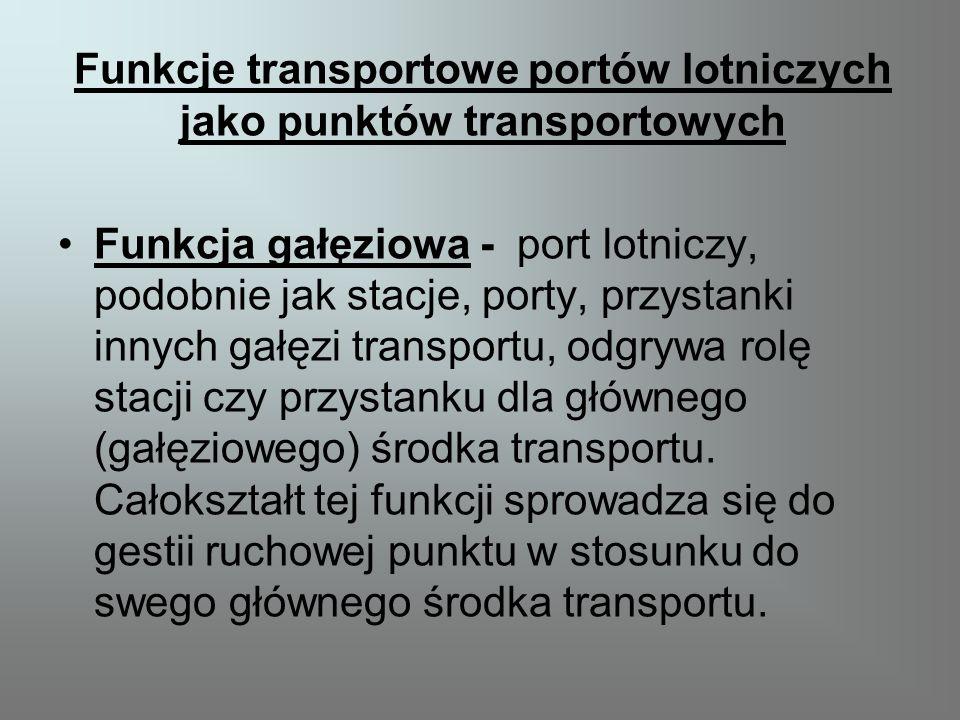 Funkcje transportowe portów lotniczych jako punktów transportowych Funkcja gałęziowa - port lotniczy, podobnie jak stacje, porty, przystanki innych gałęzi transportu, odgrywa rolę stacji czy przystanku dla głównego (gałęziowego) środka transportu.