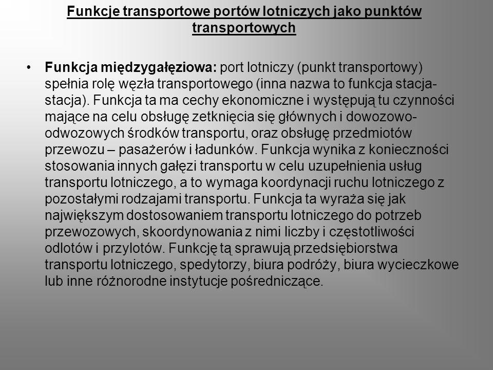 Funkcje transportowe portów lotniczych jako punktów transportowych Funkcja międzygałęziowa: port lotniczy (punkt transportowy) spełnia rolę węzła tran