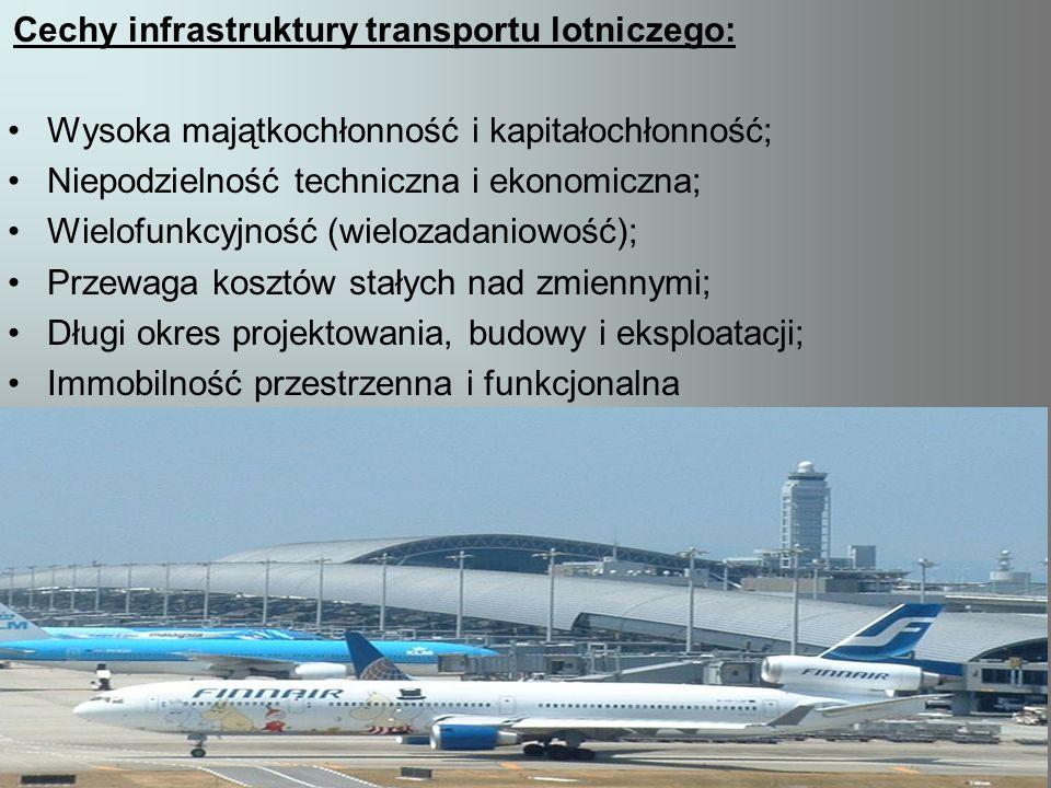 Cechy infrastruktury transportu lotniczego: Wysoka majątkochłonność i kapitałochłonność; Niepodzielność techniczna i ekonomiczna; Wielofunkcyjność (wi