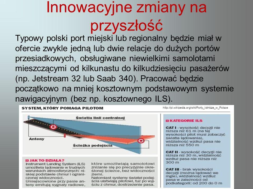 Innowacyjne zmiany na przyszłość Typowy polski port miejski lub regionalny będzie miał w ofercie zwykle jedną lub dwie relacje do dużych portów przesiadkowych, obsługiwane niewielkimi samolotami mieszczącymi od kilkunastu do kilkudziesięciu pasażerów (np.