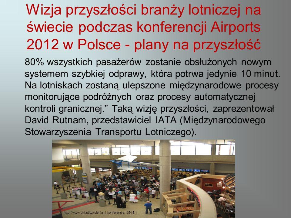 Wizja przyszłości branży lotniczej na świecie podczas konferencji Airports 2012 w Polsce - plany na przyszłość 80% wszystkich pasażerów zostanie obsłużonych nowym systemem szybkiej odprawy, która potrwa jedynie 10 minut.