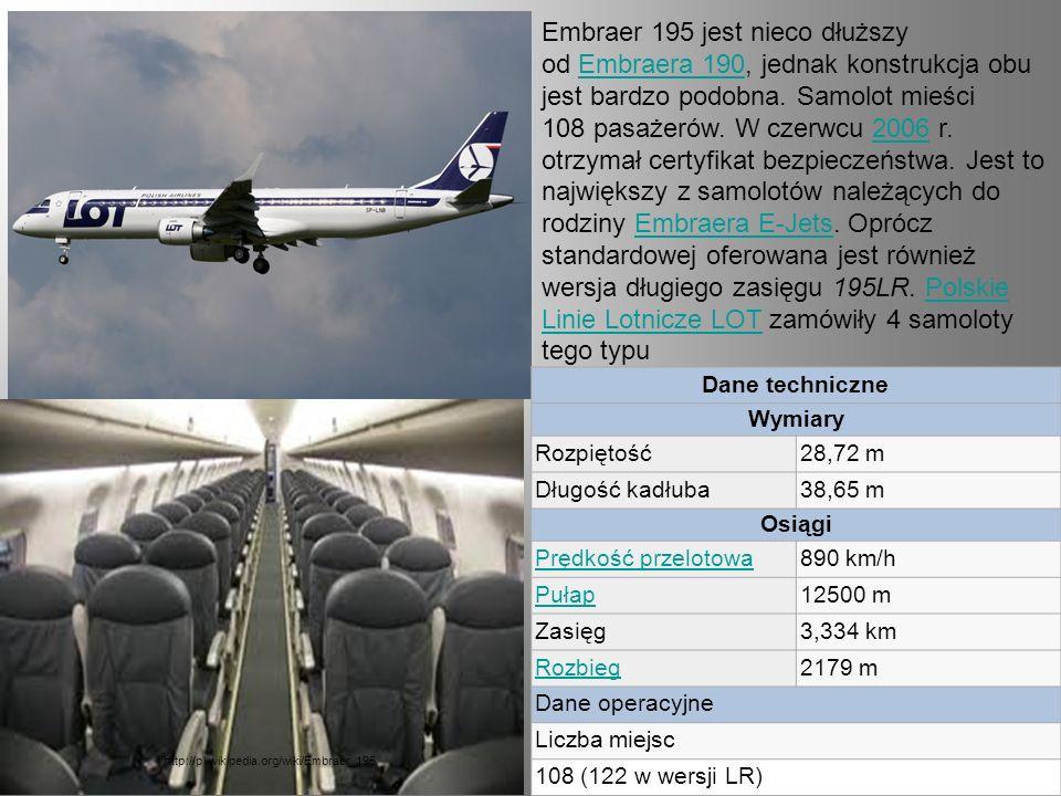 Embraer 195 jest nieco dłuższy od Embraera 190, jednak konstrukcja obu jest bardzo podobna. Samolot mieści 108 pasażerów. W czerwcu 2006 r. otrzymał c
