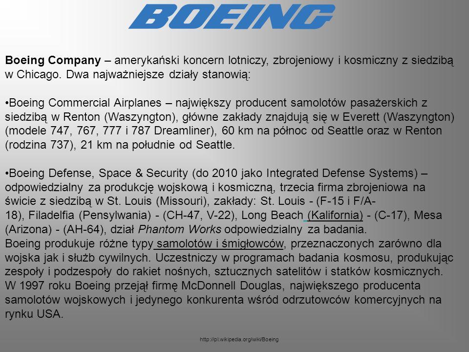 Boeing Company – amerykański koncern lotniczy, zbrojeniowy i kosmiczny z siedzibą w Chicago. Dwa najważniejsze działy stanowią: Boeing Commercial Airp