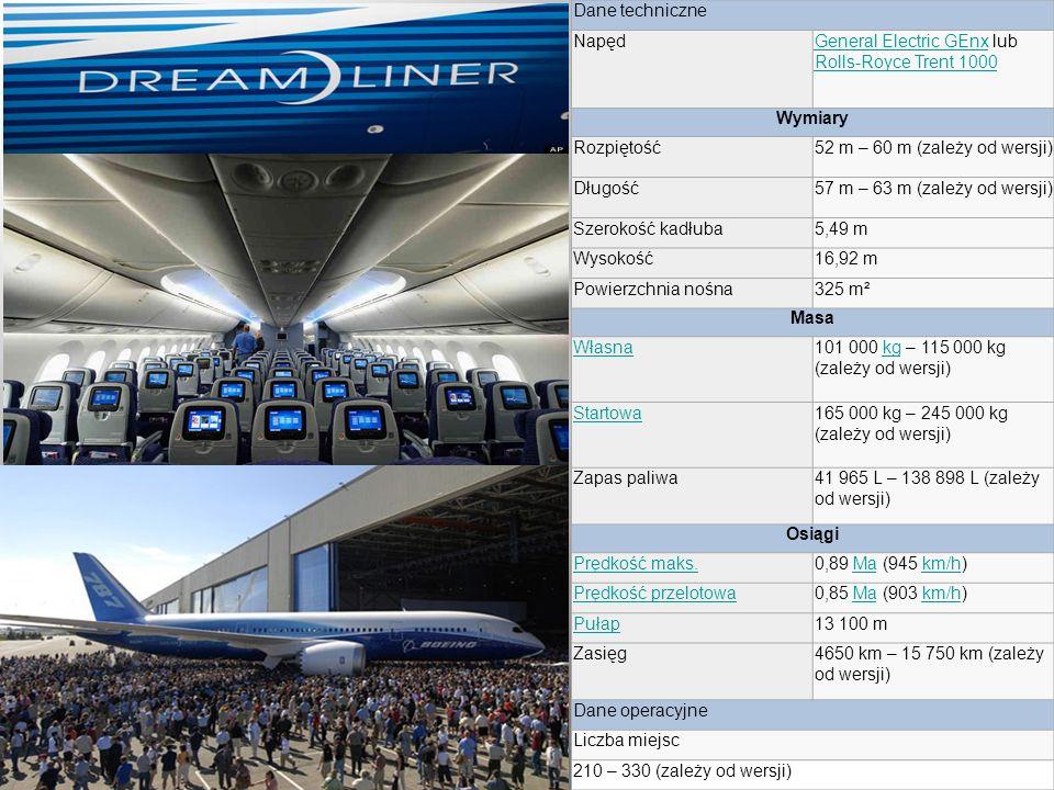 Dane techniczne NapędGeneral Electric GEnxGeneral Electric GEnx lub Rolls-Royce Trent 1000 Rolls-Royce Trent 1000 Wymiary Rozpiętość52 m – 60 m (zależy od wersji) Długość57 m – 63 m (zależy od wersji) Szerokość kadłuba5,49 m Wysokość16,92 m Powierzchnia nośna325 m² Masa Własna101 000 kg – 115 000 kg (zależy od wersji)kg Startowa165 000 kg – 245 000 kg (zależy od wersji) Zapas paliwa41 965 L – 138 898 L (zależy od wersji) Osiągi Prędkość maks.0,89 Ma (945 km/h)Makm/h Prędkość przelotowa0,85 Ma (903 km/h)Makm/h Pułap13 100 m Zasięg4650 km – 15 750 km (zależy od wersji) Dane operacyjne Liczba miejsc 210 – 330 (zależy od wersji)