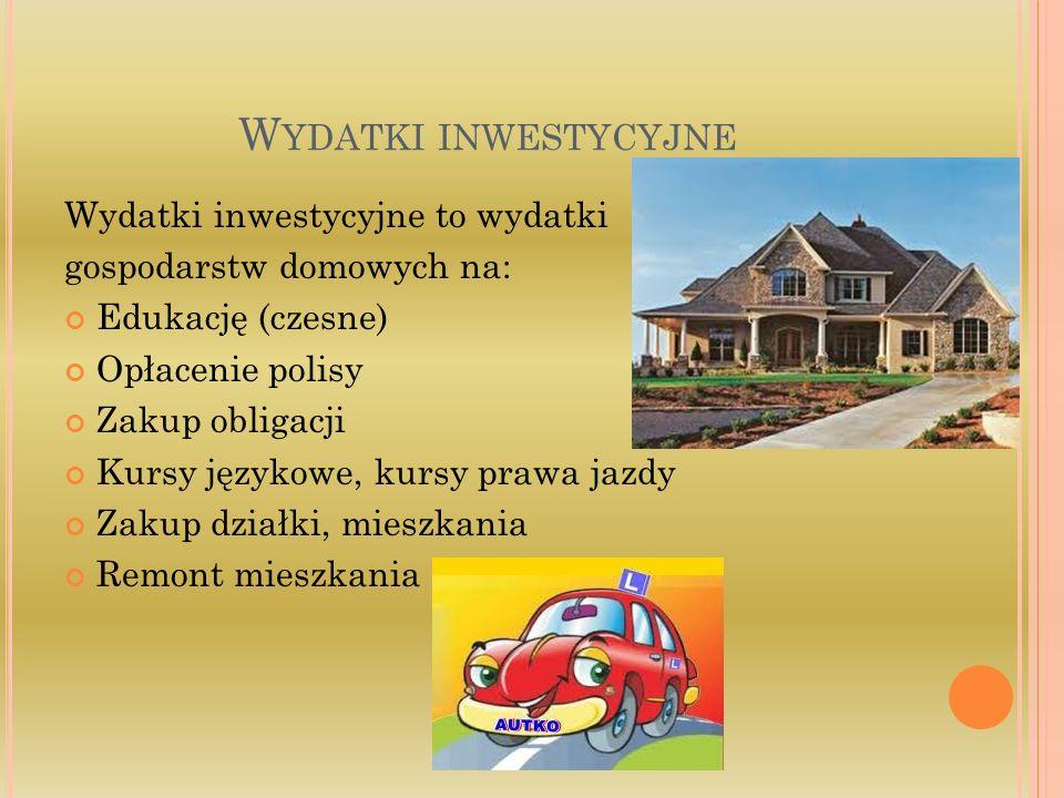 W YDATKI INWESTYCYJNE Wydatki inwestycyjne to wydatki gospodarstw domowych na: Edukację (czesne) Opłacenie polisy Zakup obligacji Kursy językowe, kurs