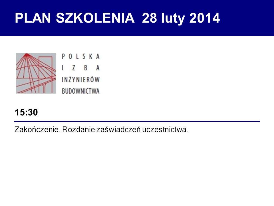 Zakończenie. Rozdanie zaświadczeń uczestnictwa. 15:30 PLAN SZKOLENIA 28 luty 2014