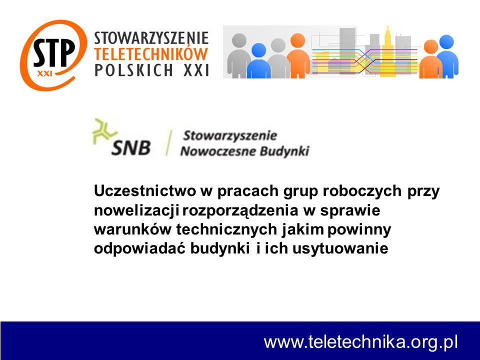 www.teletechnika.org.pl Uczestnictwo w pracach grup roboczych przy nowelizacji rozporządzenia w sprawie warunków technicznych jakim powinny odpowiadać