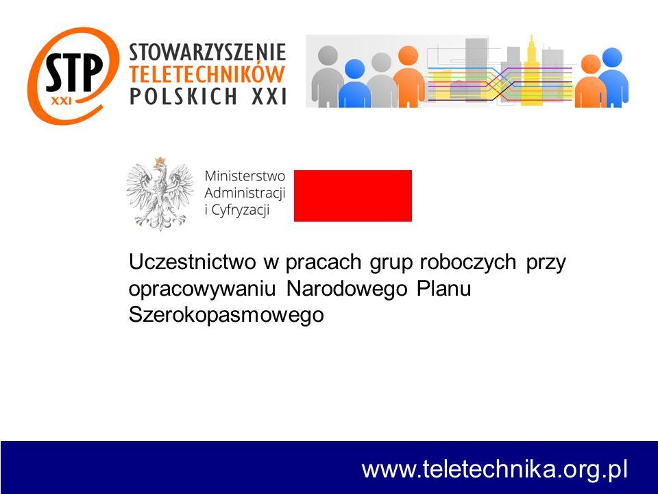 www.teletechnika.org.pl Uczestnictwo w pracach grup roboczych przy opracowywaniu Narodowego Planu Szerokopasmowego