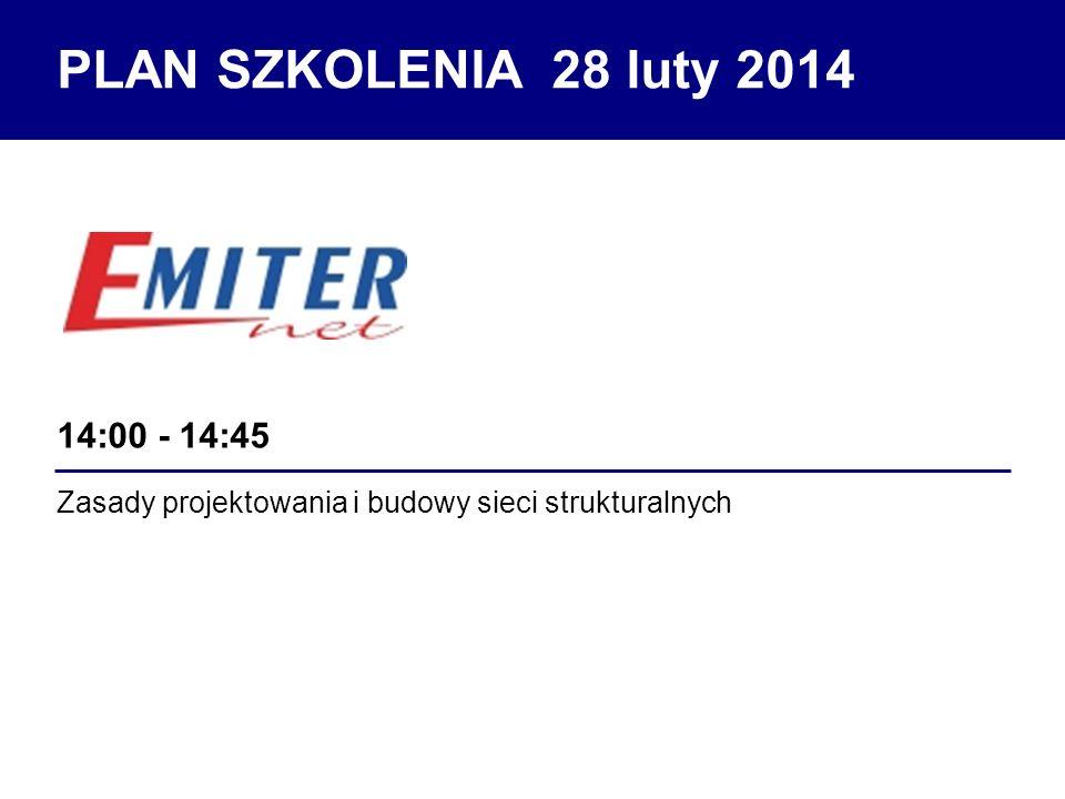 Zasady projektowania i budowy sieci strukturalnych 14:00 - 14:45 PLAN SZKOLENIA 28 luty 2014