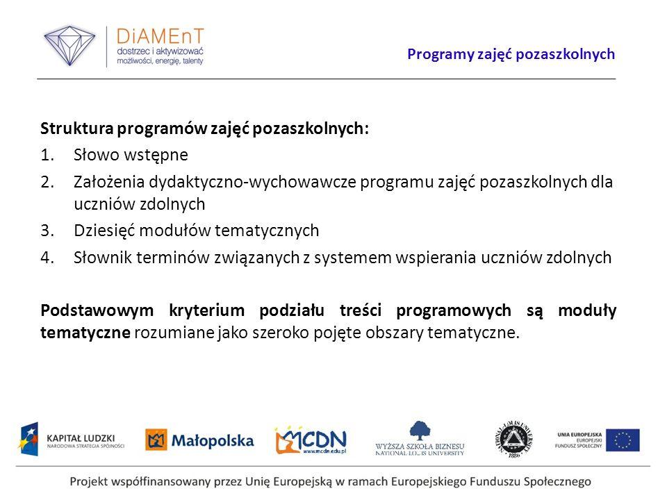 Programy zajęć pozaszkolnych Struktura programów zajęć pozaszkolnych: 1.Słowo wstępne 2.Założenia dydaktyczno-wychowawcze programu zajęć pozaszkolnych dla uczniów zdolnych 3.Dziesięć modułów tematycznych 4.Słownik terminów związanych z systemem wspierania uczniów zdolnych Podstawowym kryterium podziału treści programowych są moduły tematyczne rozumiane jako szeroko pojęte obszary tematyczne.