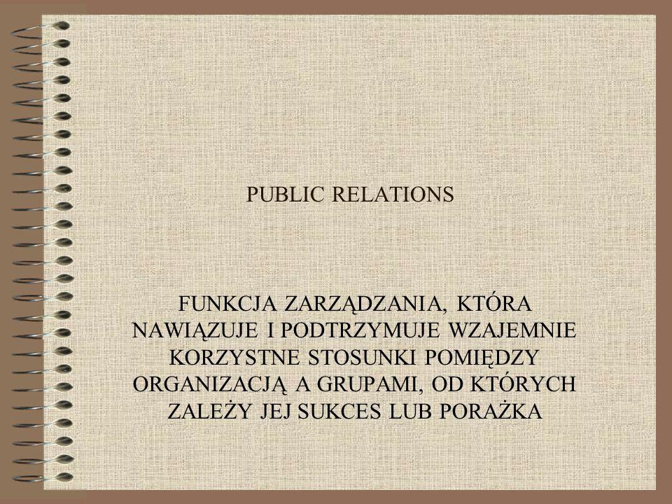 Public Relations To jeden z elementów zintegrowanej komunikacji marketingowej, która polega na koordynacji i integracji wszystkich narzędzi i kanałów komunikacji w spójny program SKUTECZNEGO ODDZIAŁYWANIA NA OTOCZENIE