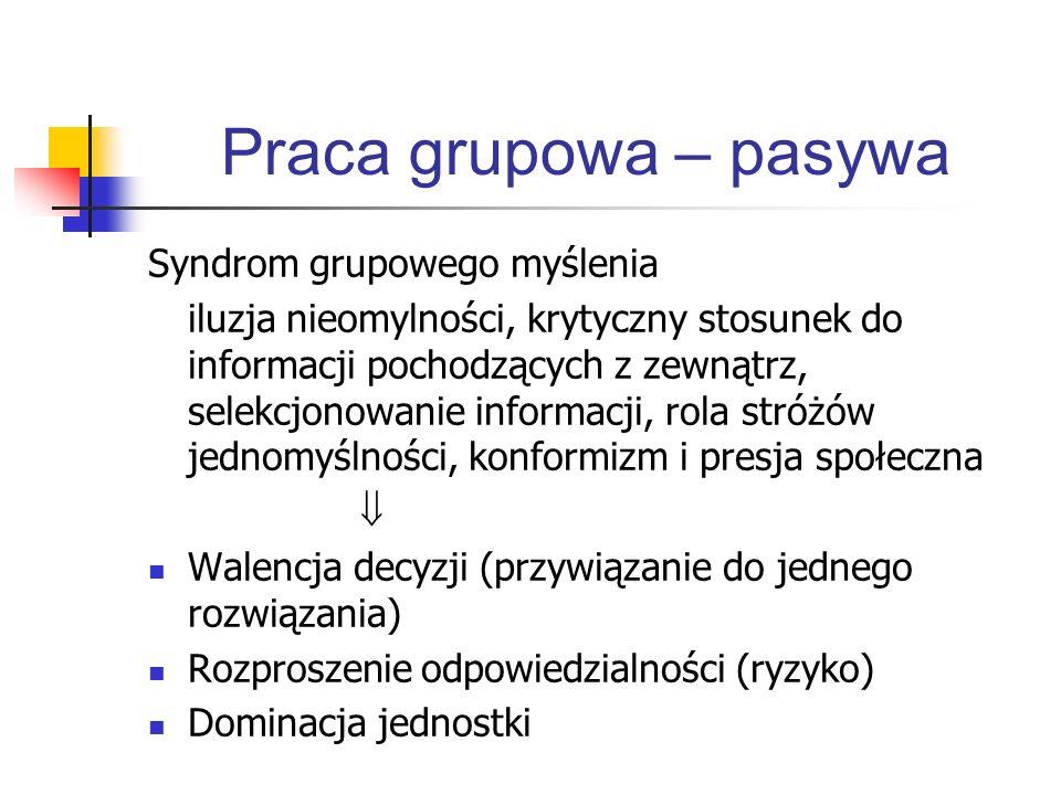 Praca grupowa – pasywa Syndrom grupowego myślenia iluzja nieomylności, krytyczny stosunek do informacji pochodzących z zewnątrz, selekcjonowanie infor