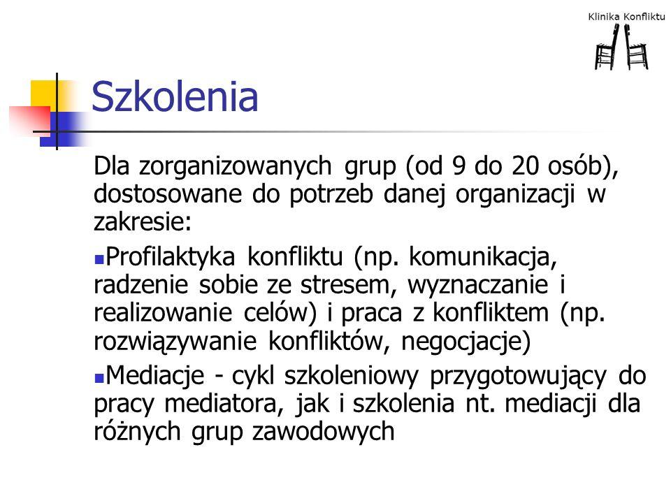 Szkolenia Dla zorganizowanych grup (od 9 do 20 osób), dostosowane do potrzeb danej organizacji w zakresie: Profilaktyka konfliktu (np. komunikacja, ra