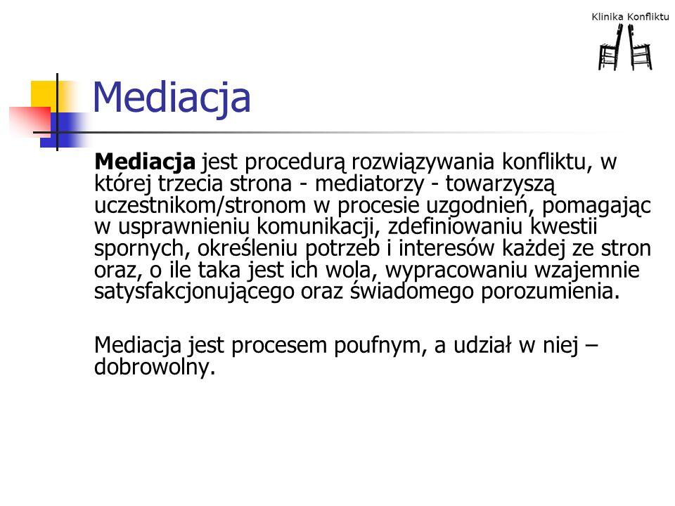 Mediacja Mediacja jest procedurą rozwiązywania konfliktu, w której trzecia strona - mediatorzy - towarzyszą uczestnikom/stronom w procesie uzgodnień,