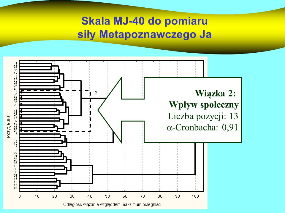 Skala MJ-40 do pomiaru siły Metapoznawczego Ja Wiązka 2: Wpływ społeczny Liczba pozycji: 13 -Cronbacha: 0,91