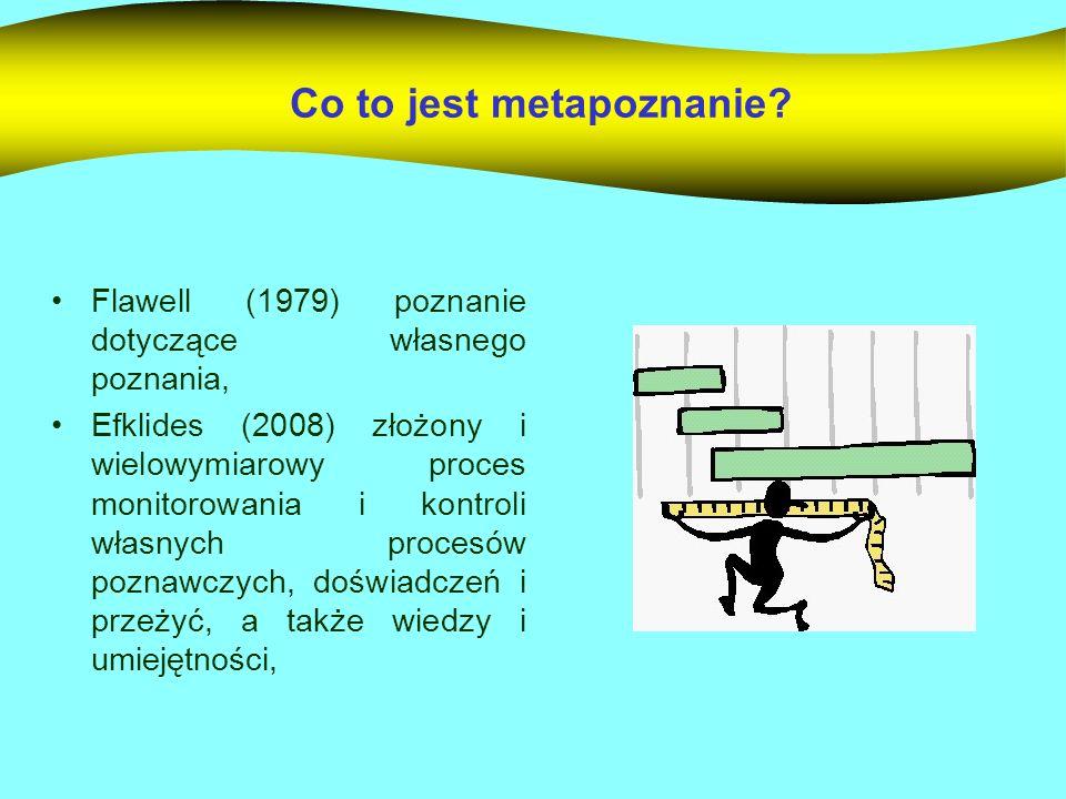 Co to jest metapoznanie? Flawell (1979) poznanie dotyczące własnego poznania, Efklides (2008) złożony i wielowymiarowy proces monitorowania i kontroli