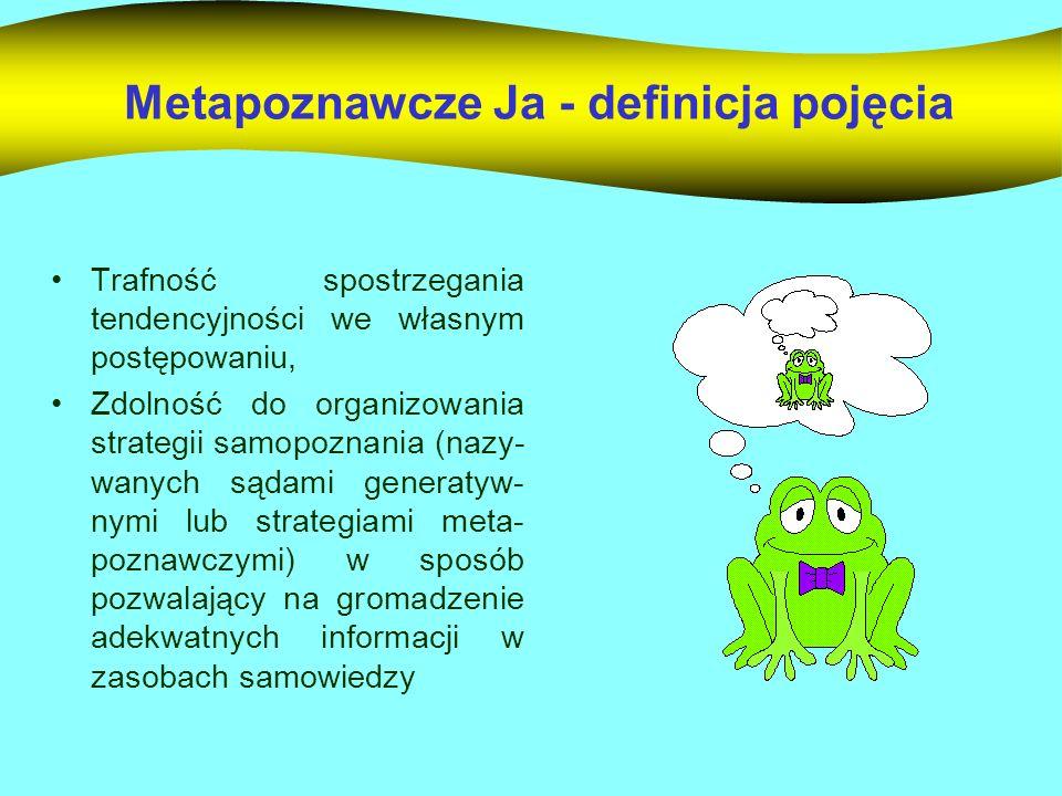 Metapoznawcze Ja - definicja pojęcia Trafność spostrzegania tendencyjności we własnym postępowaniu, Zdolność do organizowania strategii samopoznania (