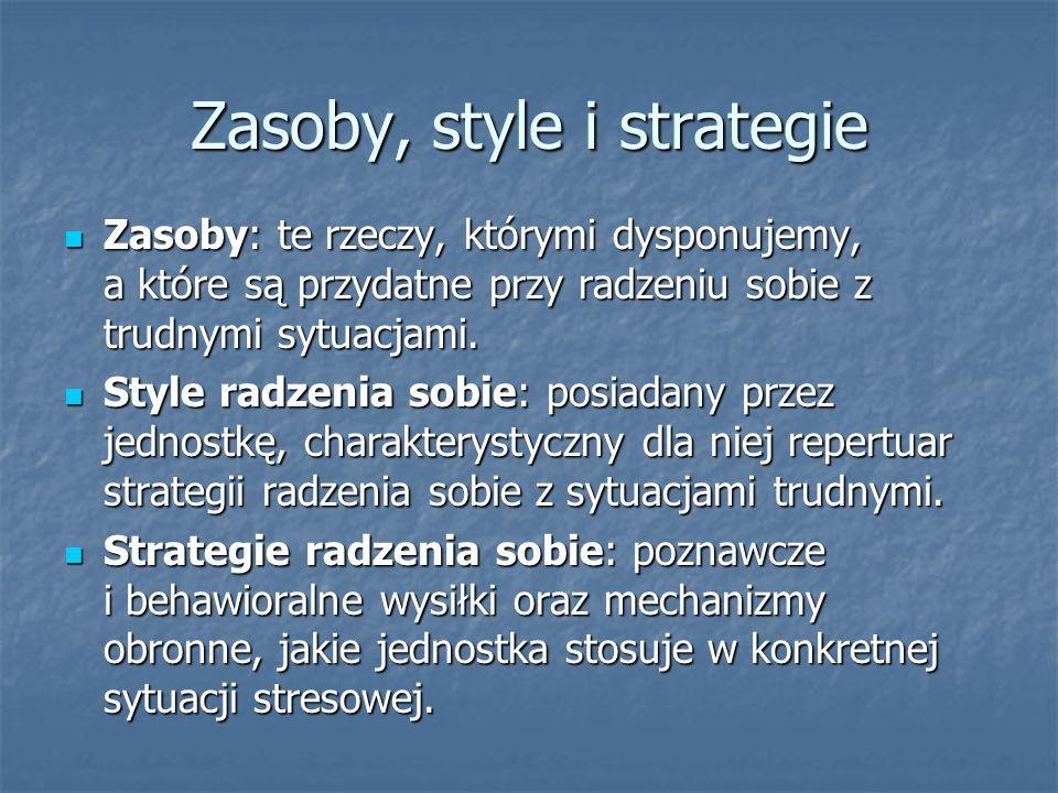 Zasoby, style i strategie Zasoby: te rzeczy, którymi dysponujemy, a które są przydatne przy radzeniu sobie z trudnymi sytuacjami. Zasoby: te rzeczy, k