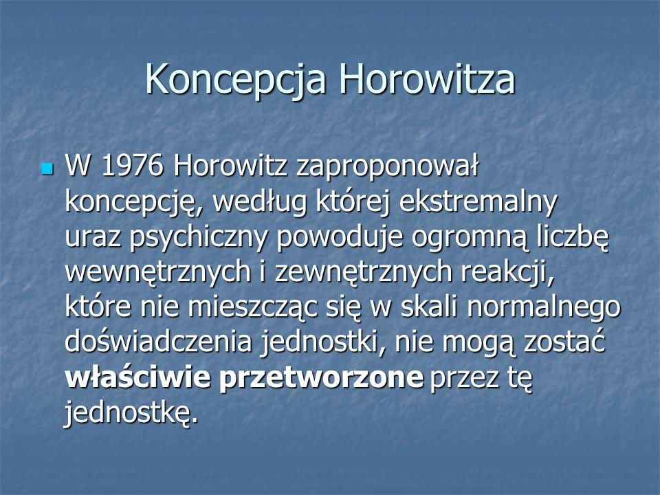 Koncepcja Horowitza W 1976 Horowitz zaproponował koncepcję, według której ekstremalny uraz psychiczny powoduje ogromną liczbę wewnętrznych i zewnętrzn