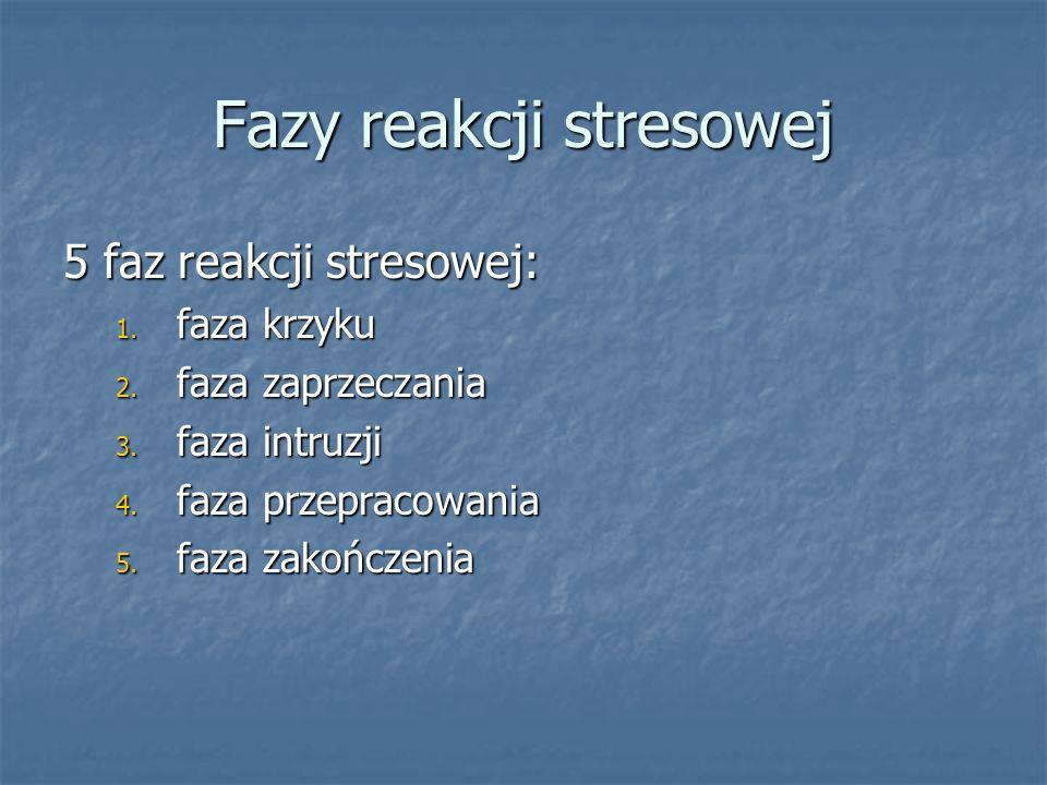 Fazy reakcji stresowej 5 faz reakcji stresowej: 1. faza krzyku 2. faza zaprzeczania 3. faza intruzji 4. faza przepracowania 5. faza zakończenia